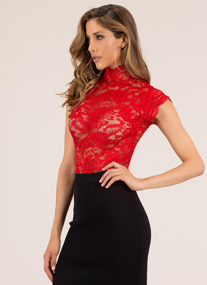 High Priority Lace-Back Lace Bodysuit RED