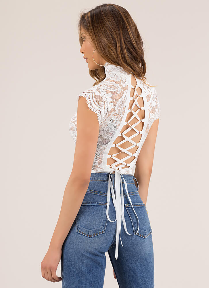 High Priority Lace-Back Lace Bodysuit WHITE