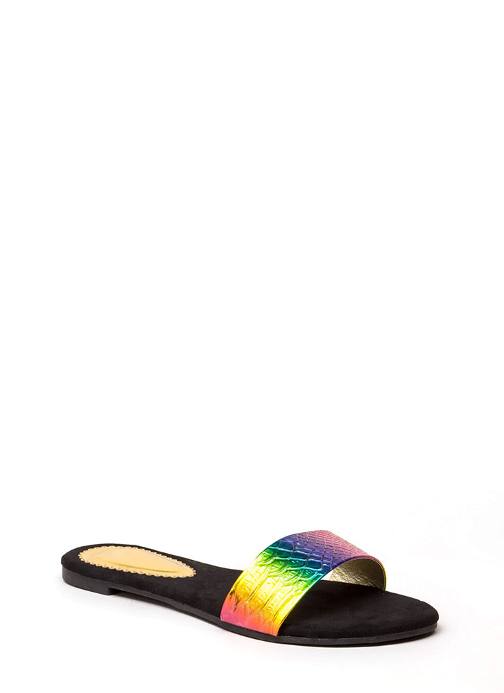 Hologram Reptile Scale Slide Sandals RAINBOW