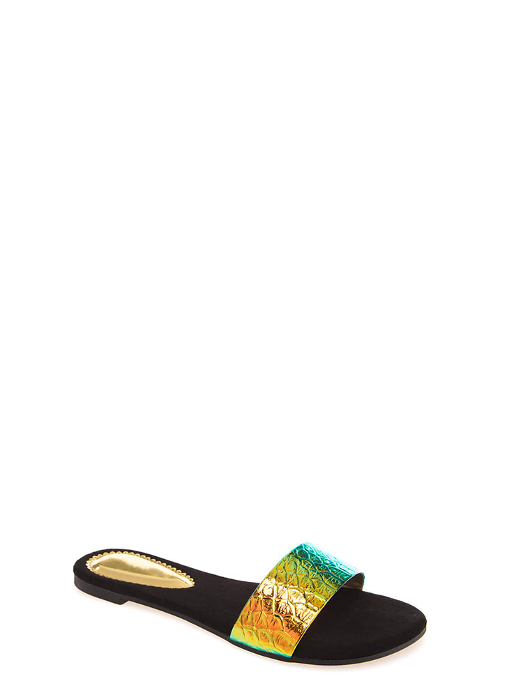Hologram Reptile Scale Slide Sandals YELLOW