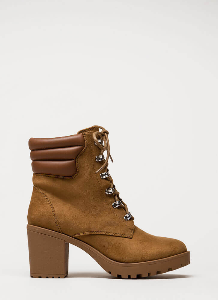 Women At Work Chunky Lug Booties CAMEL