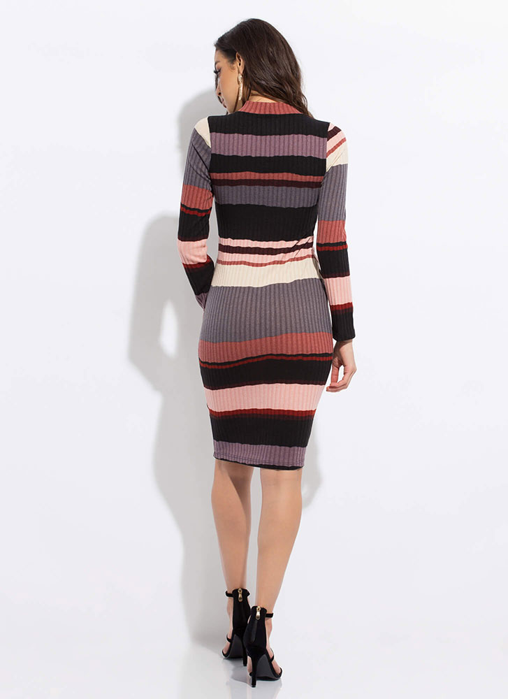 Line Dance Striped Rib Knit Midi Dress MAUVE