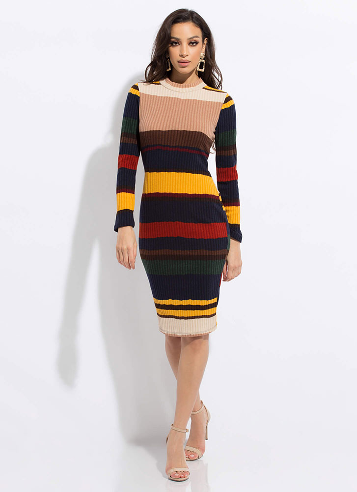 Line Dance Striped Rib Knit Midi Dress MUSTARD