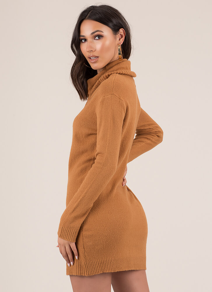 Necks Level Drawstring Sweater Dress RUST