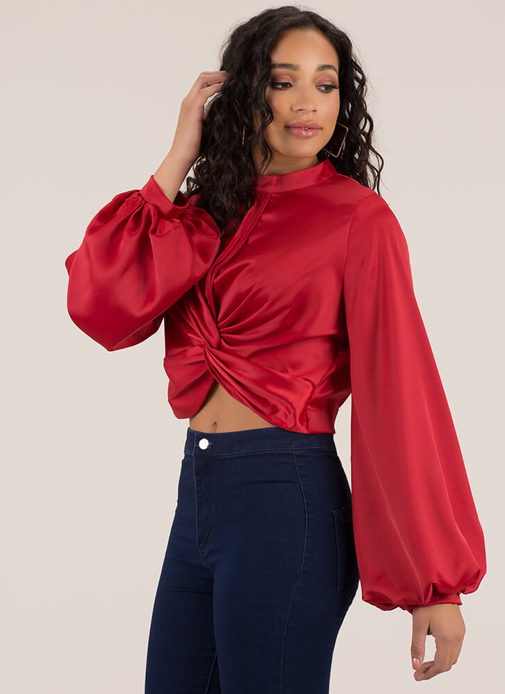 Drama Major Twisted Puff Sleeve Crop Top RED