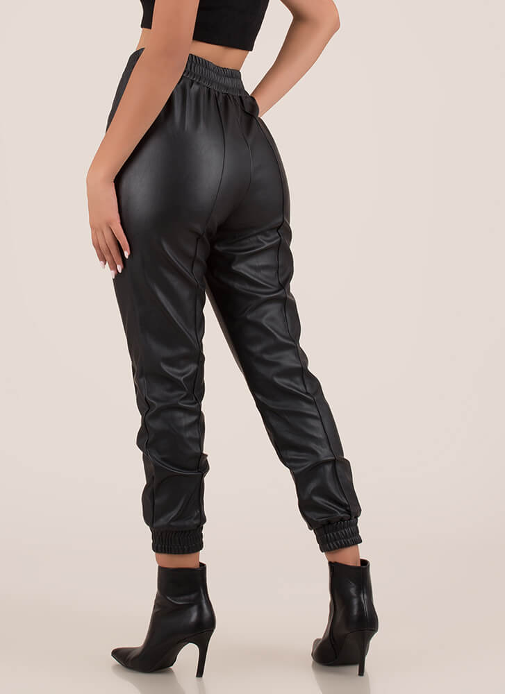 Born To Be Styled Faux Leather Joggers BLACK