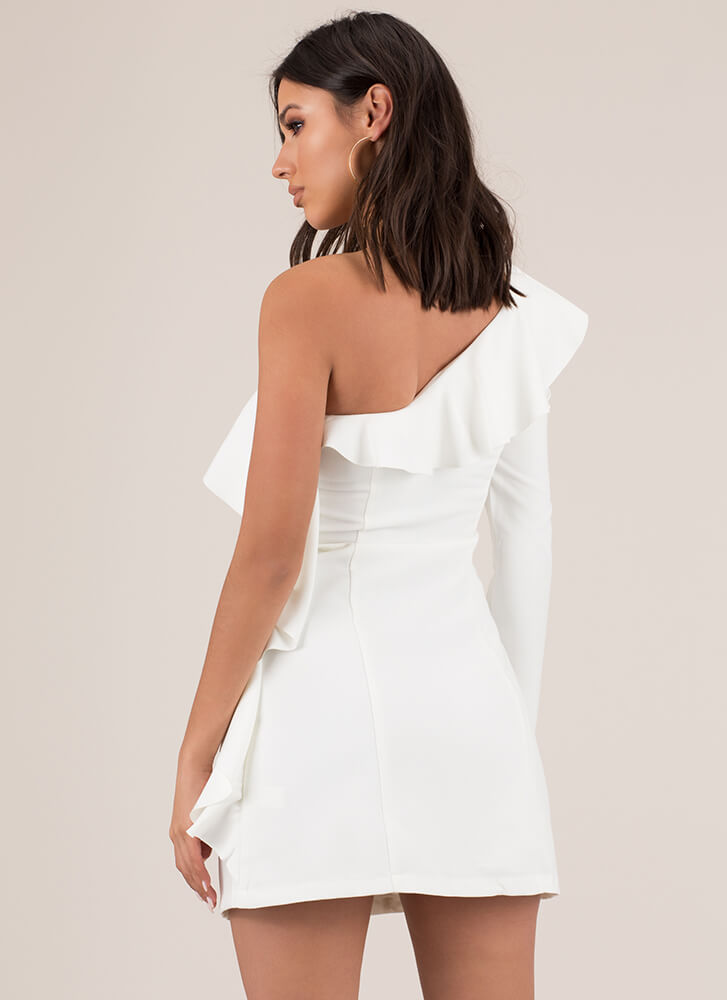 Party Ruffles One-Shoulder Minidress WHITE