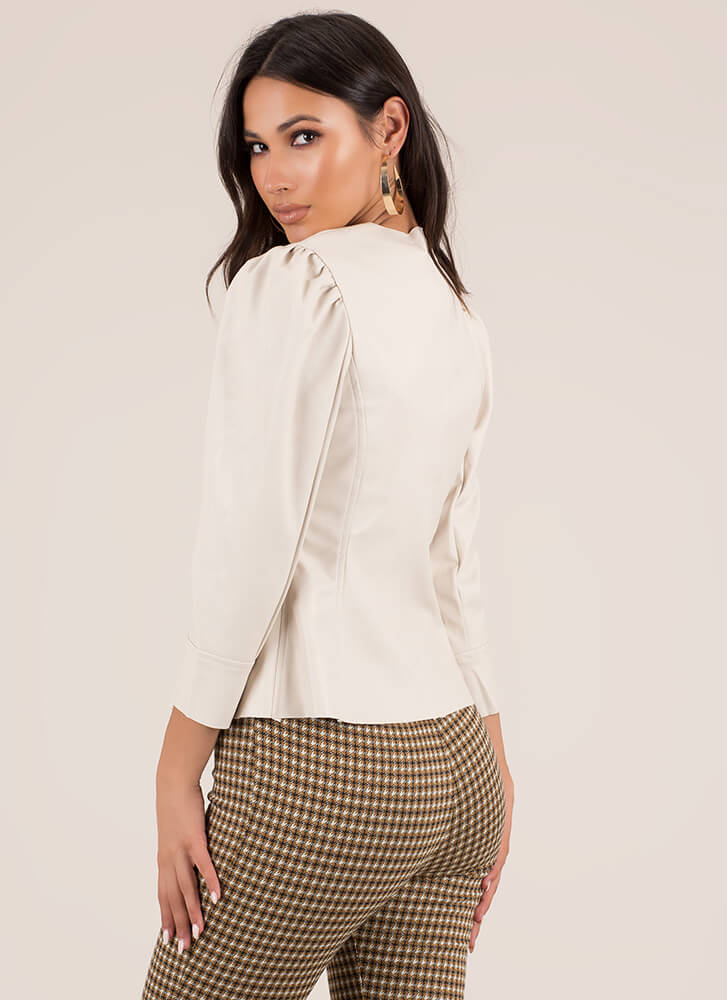 Chic Speak Faux Leather Puffy Sleeve Top BEIGE