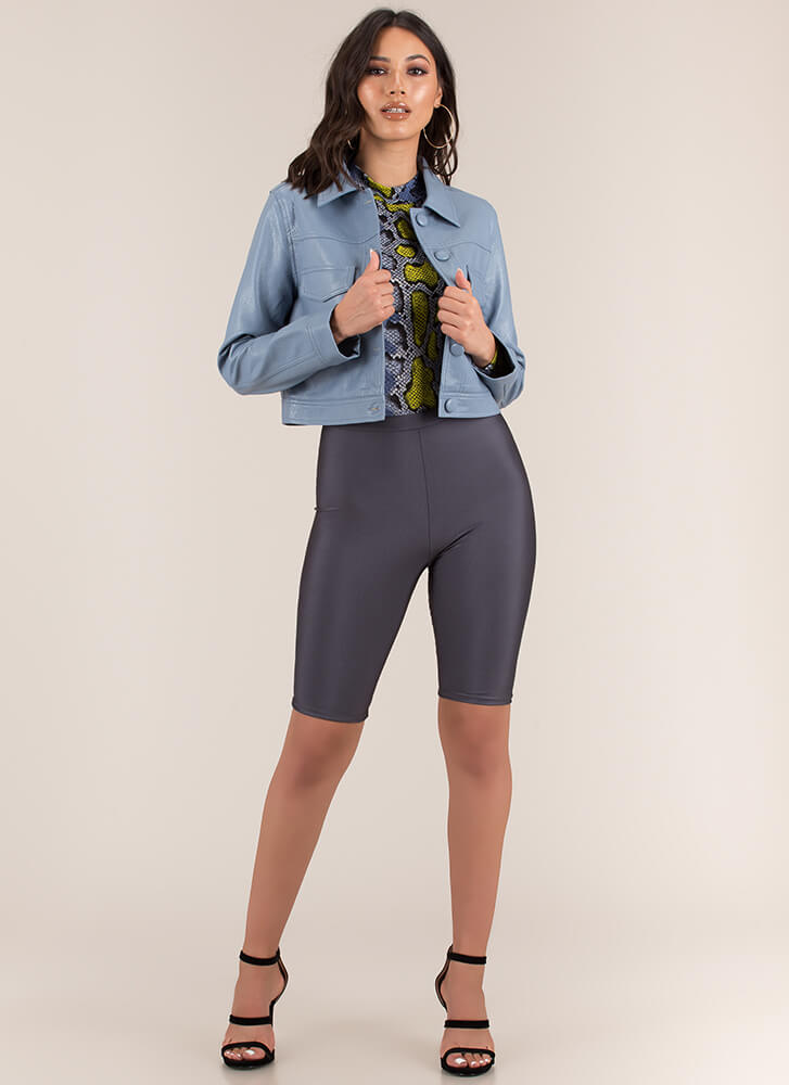 Cute As A Button-Up Faux Leather Jacket BLUE
