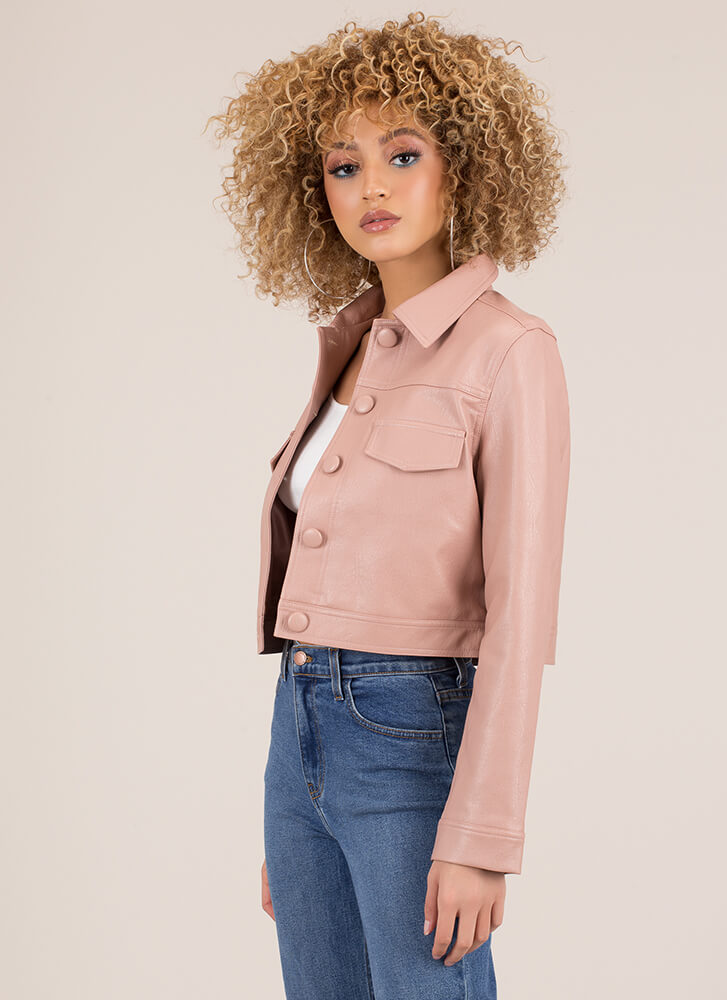 Cute As A Button-Up Faux Leather Jacket PINK (final sale)