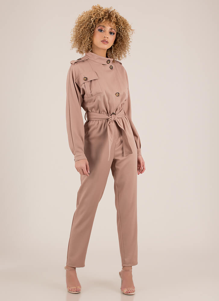 Pardon My Trench Tied Jumpsuit MOCHA