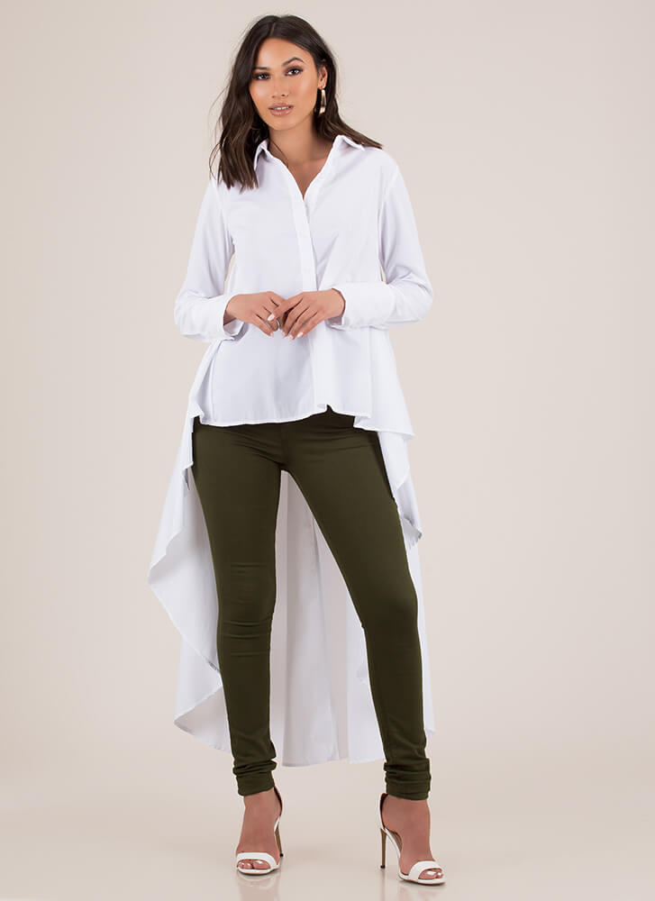 Work Flow Cascading High-Low Blouse WHITE
