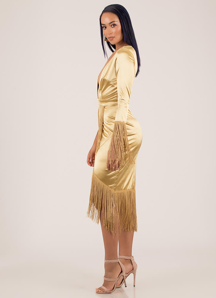 Wrapped In Fringe Plunging Satin Dress CHAMPAGNE
