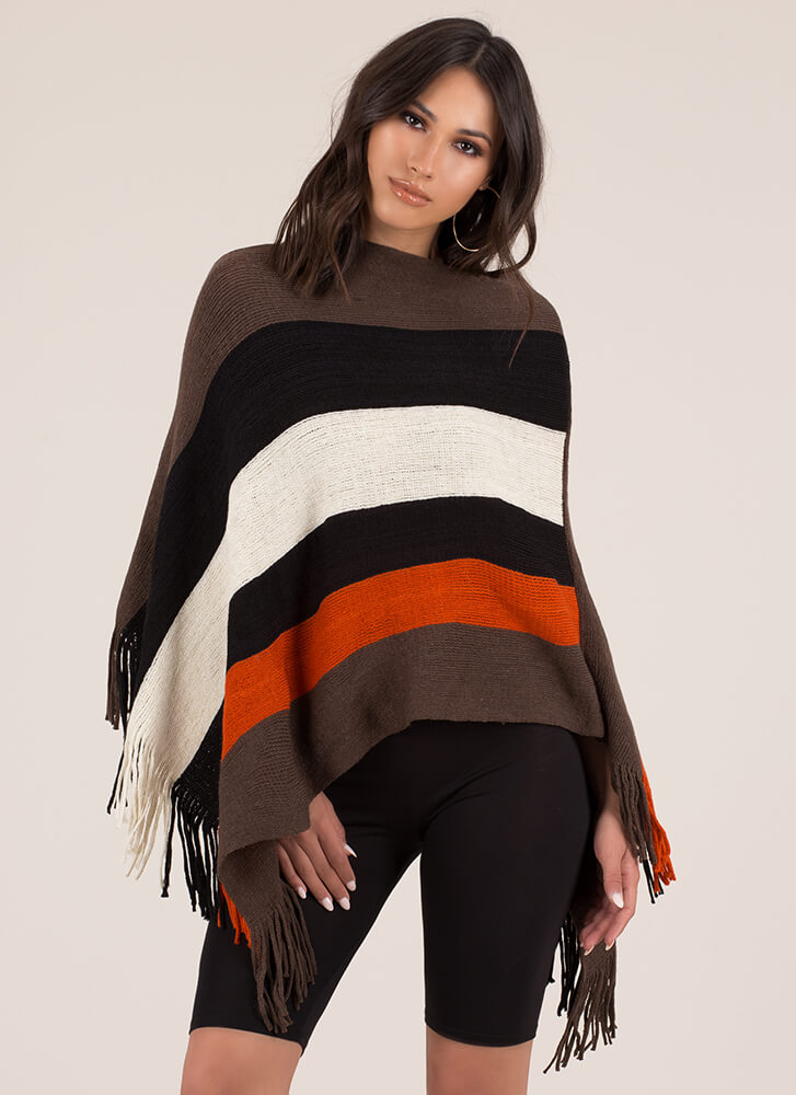 Superior Stripes Fringed Knit Poncho BROWNMULTI