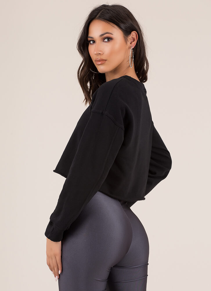 Day In Day Out Cropped Sweatshirt BLACK