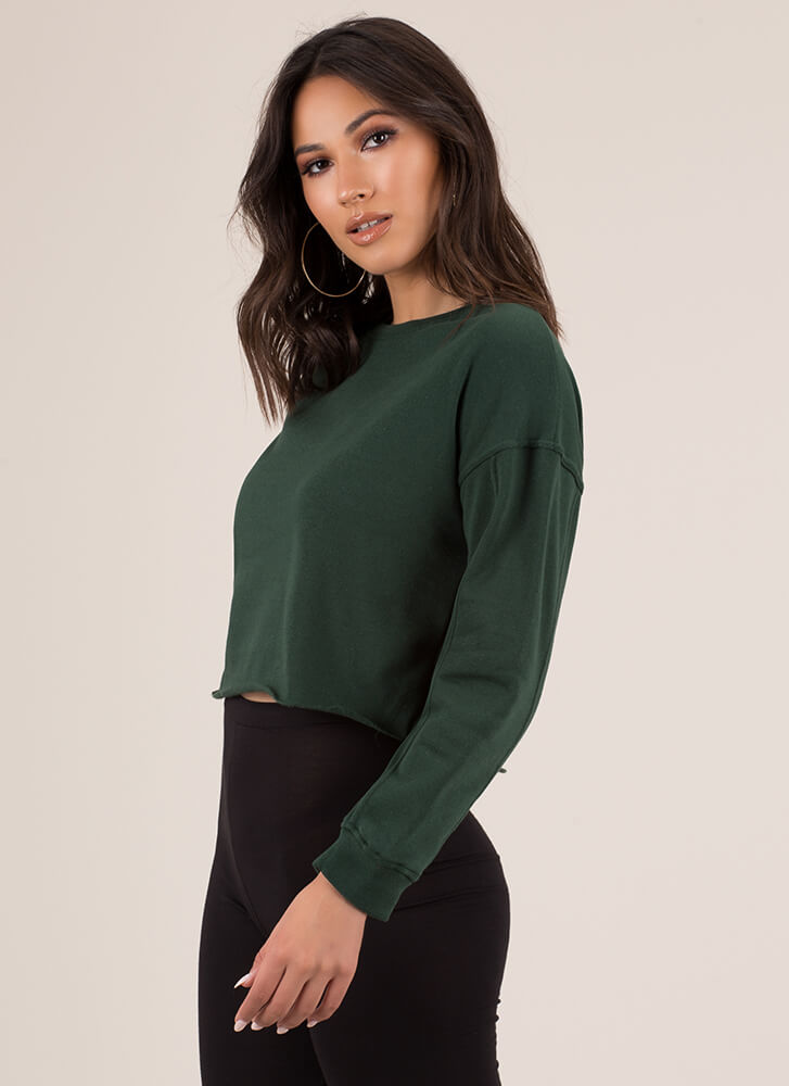 Day In Day Out Cropped Sweatshirt HGREEN