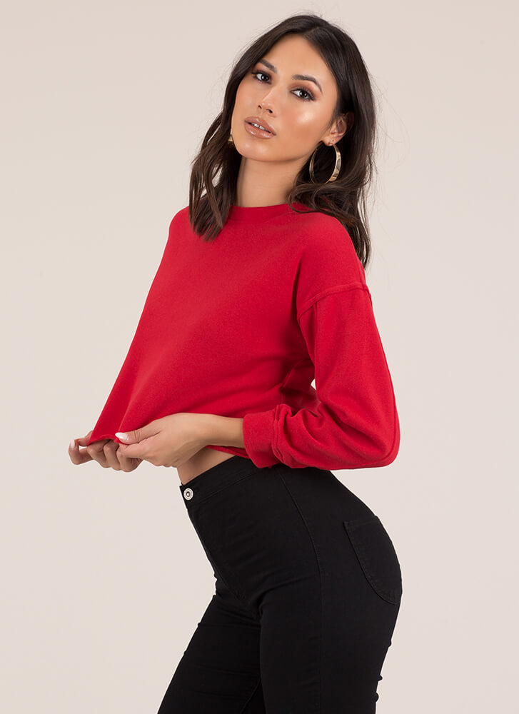 Day In Day Out Cropped Sweatshirt RED