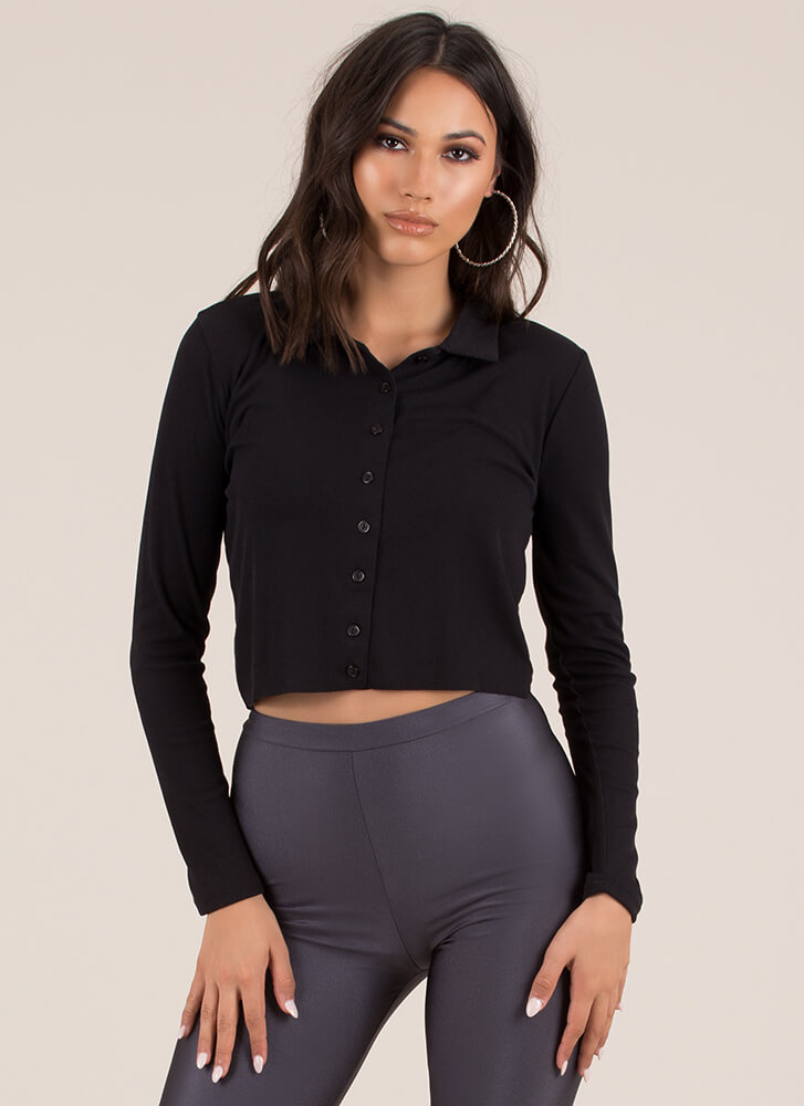 True Collars Ribbed Button-Up Crop Top BLACK