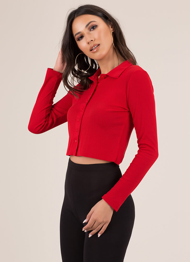 True Collars Ribbed Button-Up Crop Top RED