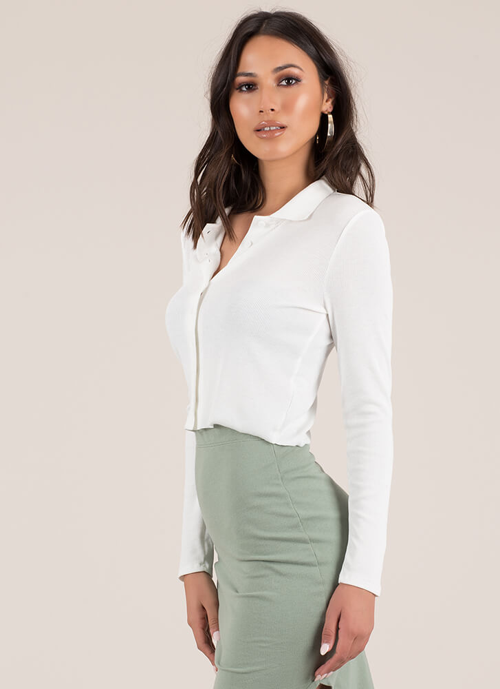 True Collars Ribbed Button-Up Crop Top WHITE