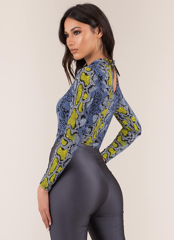 Cold-Blooded Snake Print Bodysuit BLUEYELLOW