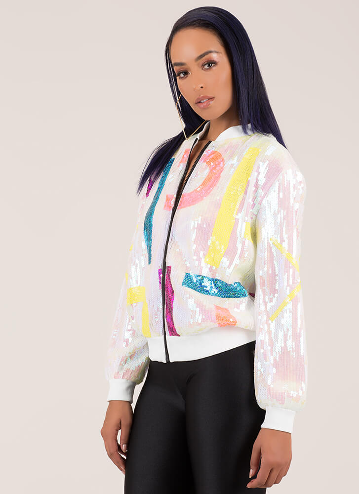 To The Letter Sequined Bomber Jacket WHITE