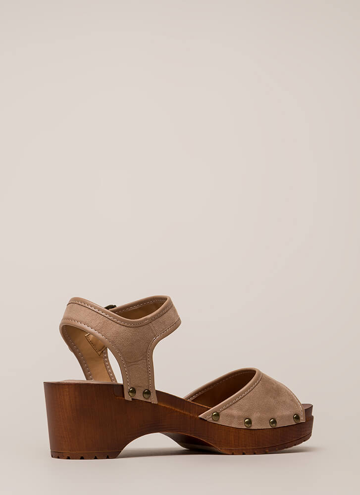 Beach Stud Chunky Platform Sandals TAUPE