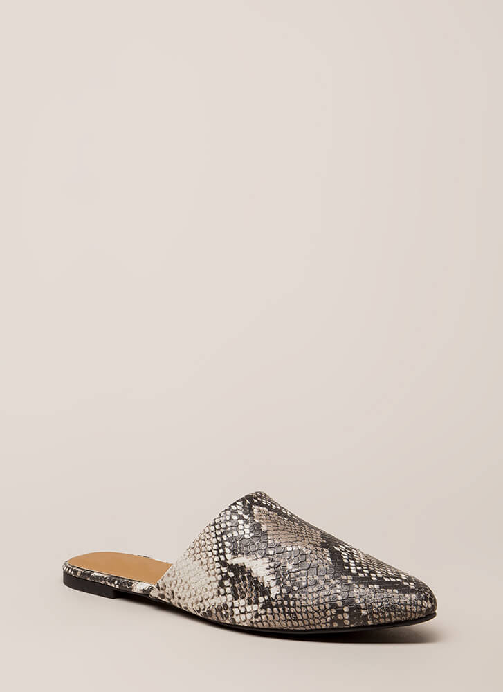 Snake Charming Scaled Mule Flats BEIGEBROWN