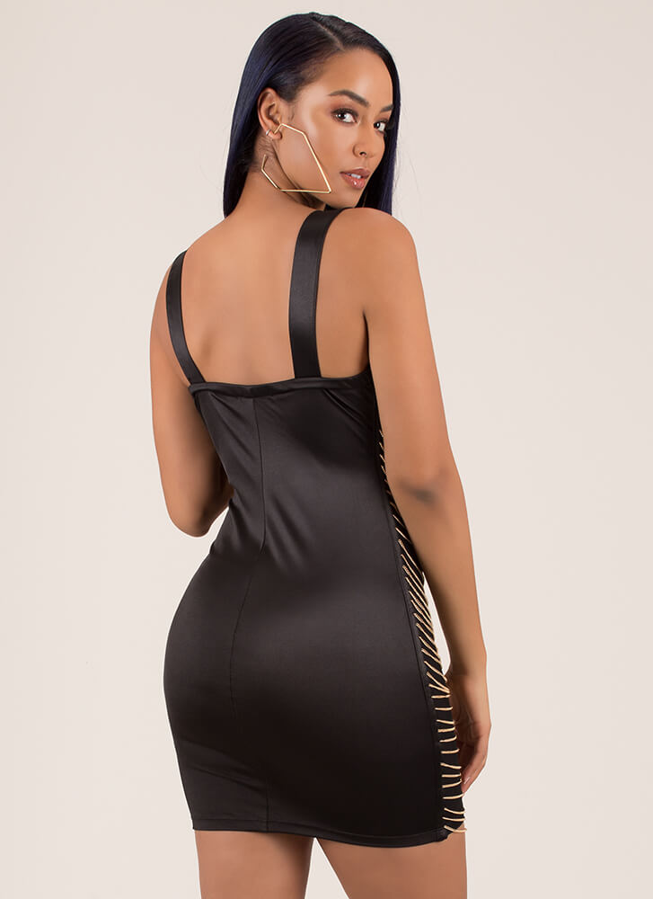 Jane's In Chains Plunging Minidress BLACK