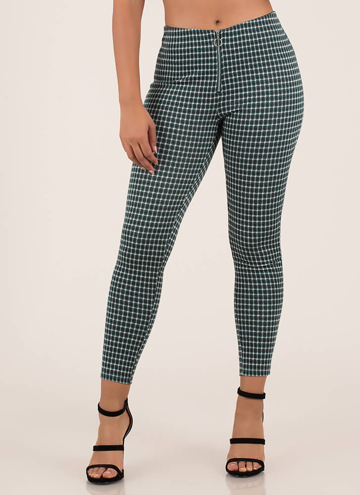 Plaid Perfection Zip-Front Skinny Pants HUNTERGREEN
