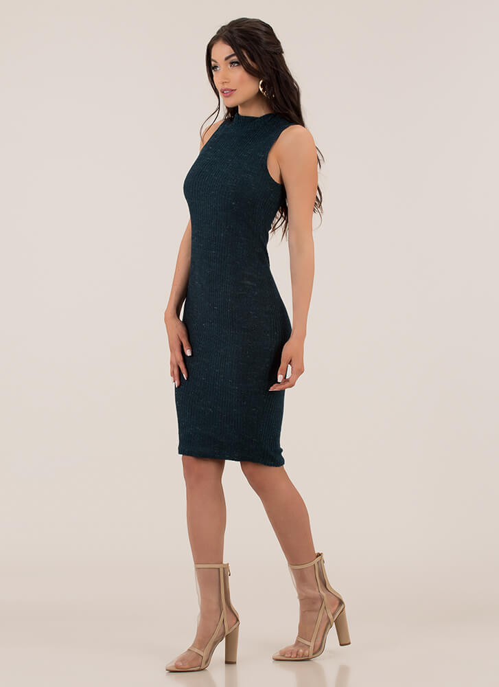 It's Fuzzy Ribbed Mockneck Midi Dress HUNTERGREEN
