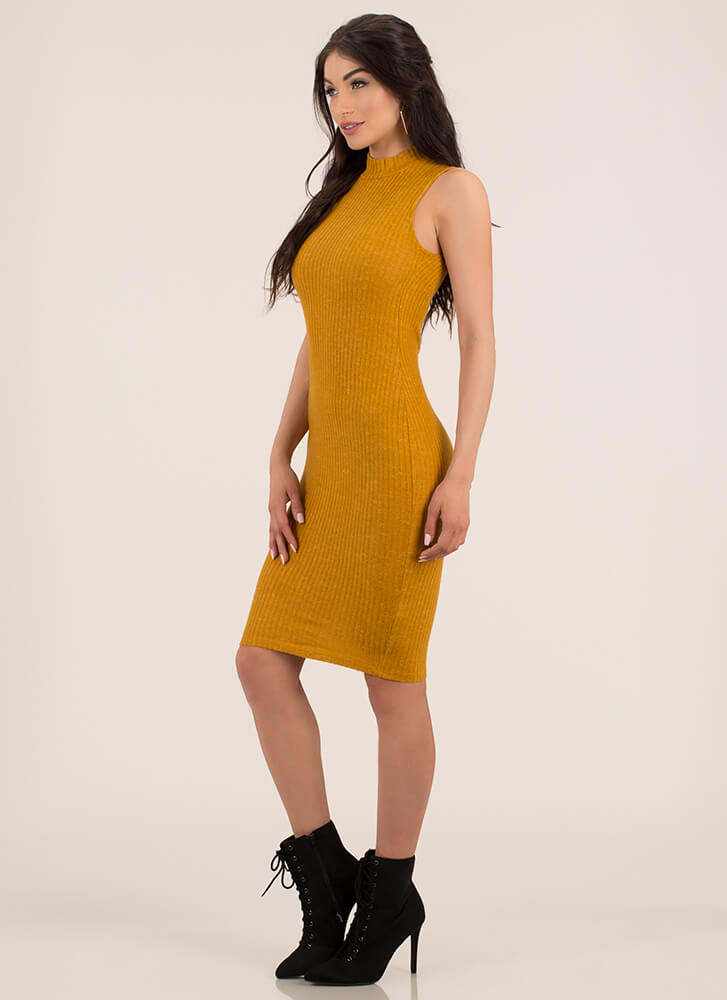 It's Fuzzy Ribbed Mockneck Midi Dress MUSTARD