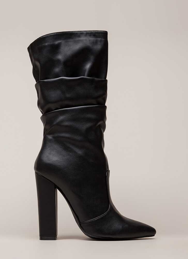 Stylish Slouch Pointy Chunky Boots BLACK (You Saved $28)