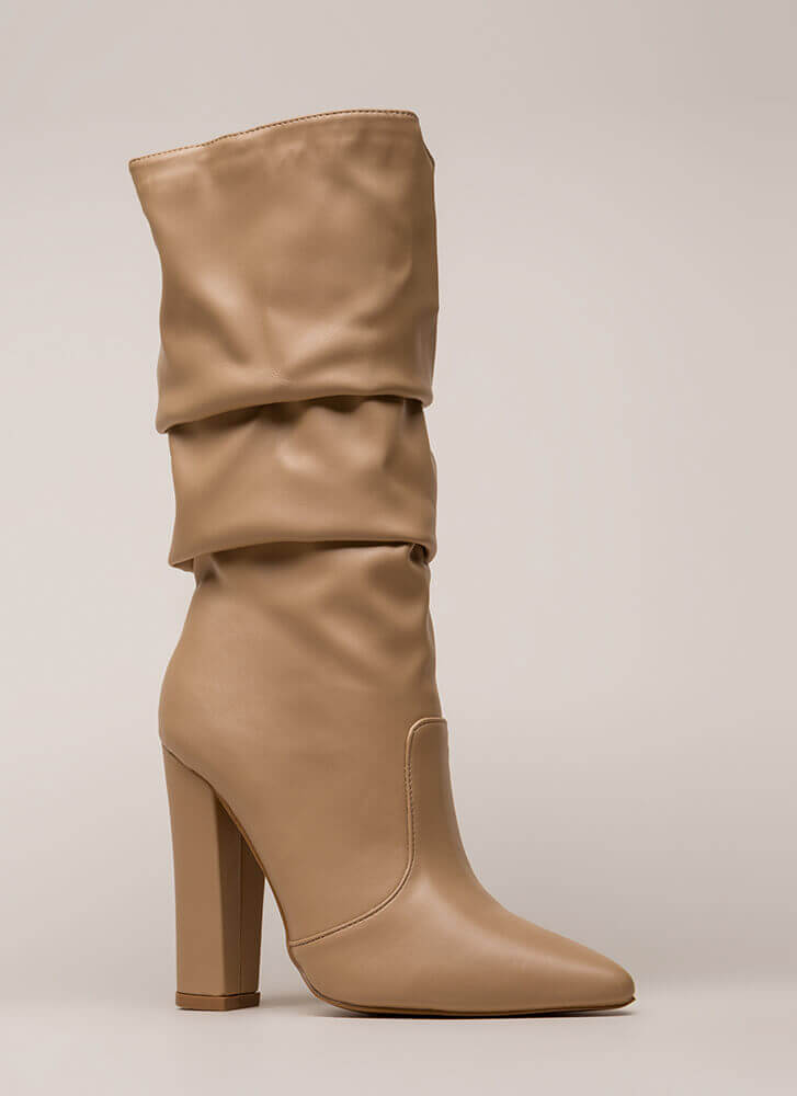 Stylish Slouch Pointy Chunky Boots CAMEL (You Saved $28)