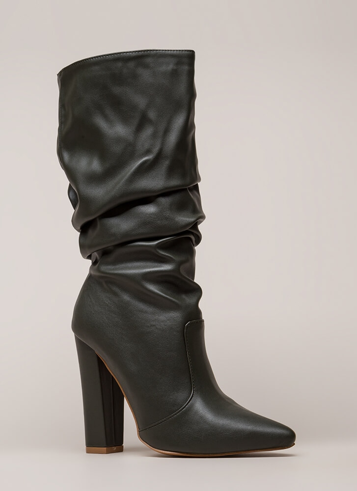Stylish Slouch Pointy Chunky Boots OLIVE (You Saved $28)