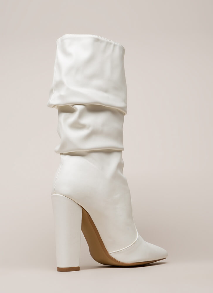 Stylish Slouch Pointy Chunky Boots WHITE (You Saved $28)