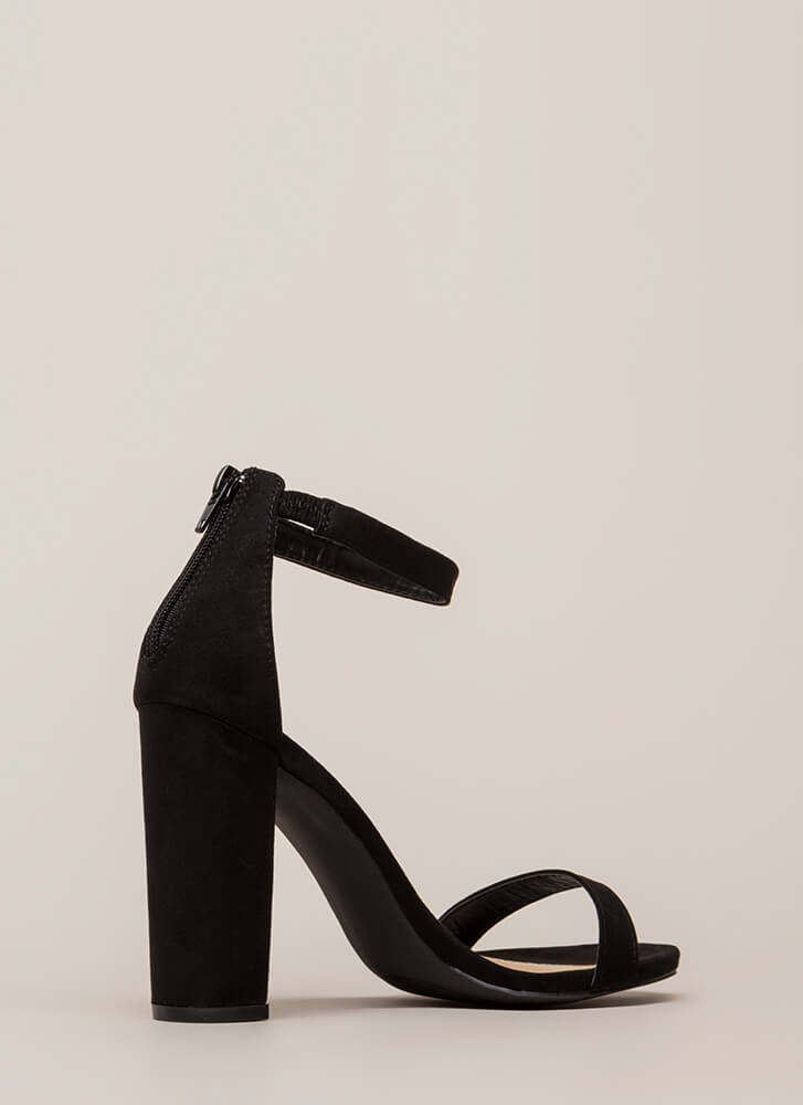 Just My Style Chunky Faux Suede Heels BLACK