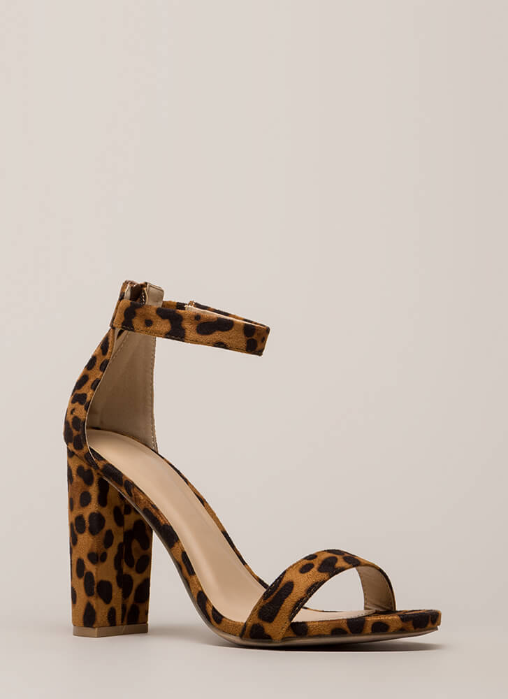Just My Style Chunky Faux Suede Heels LEOPARD