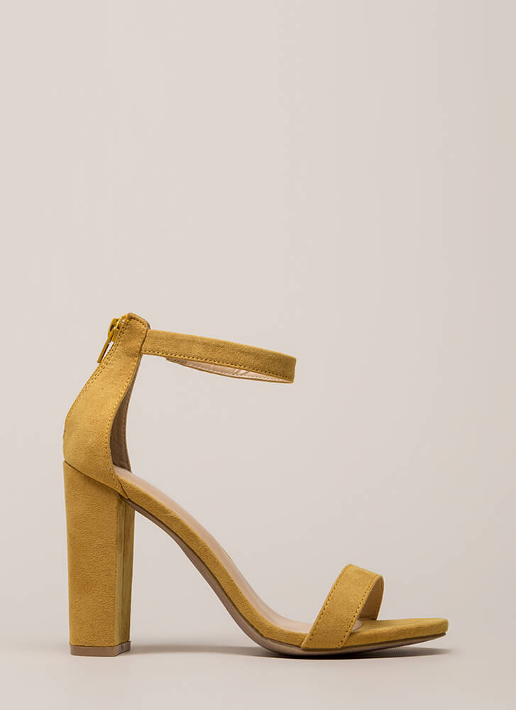 Just My Style Chunky Faux Suede Heels MUSTARD