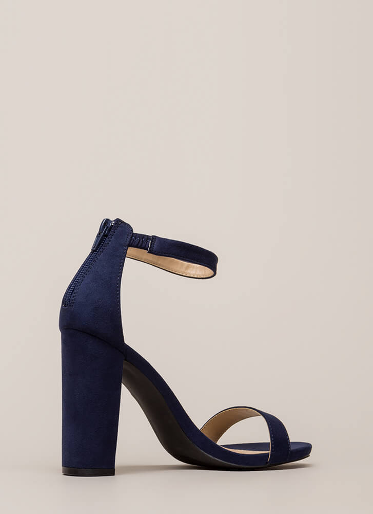 Just My Style Chunky Faux Suede Heels NAVY