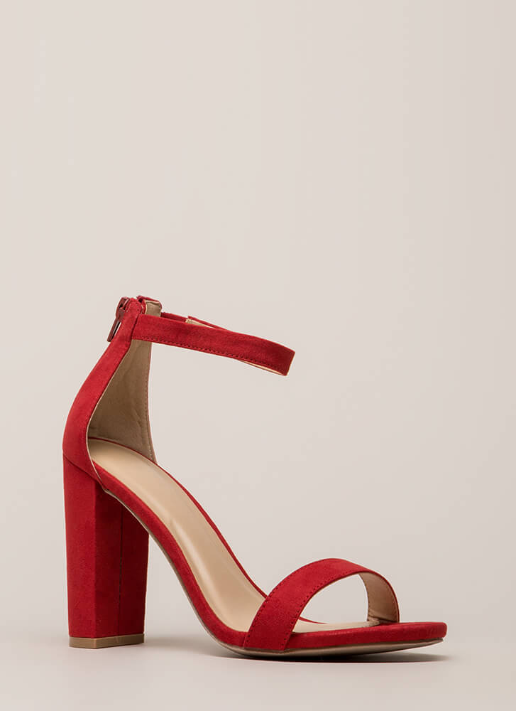 Just My Style Chunky Faux Suede Heels RED