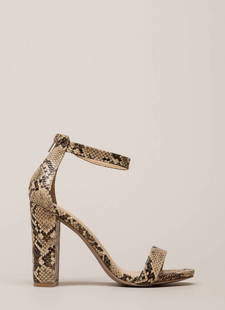 Just My Style Chunky Faux Snake Heels PYTHON