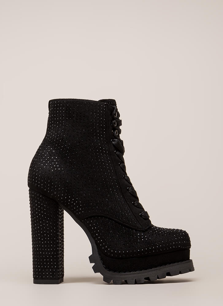 Lug Love Rhinestone Platform Booties BLACK (Final Sale)