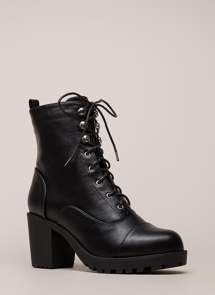 Cool Combat Chunky Lug Sole Booties BLACK