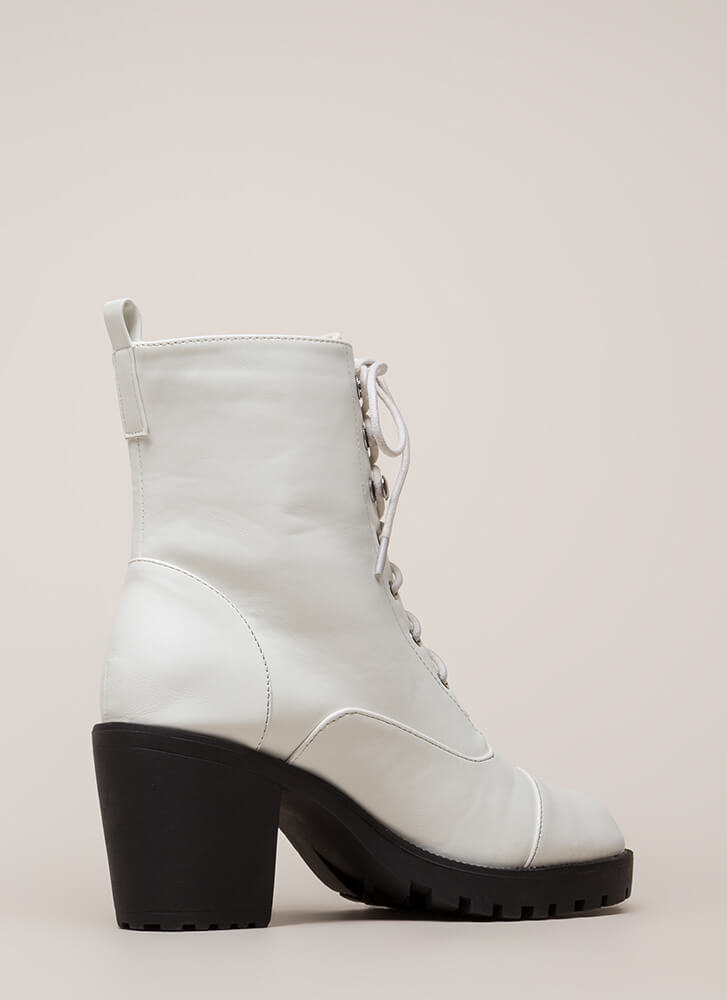 Cool Combat Chunky Lug Sole Booties WHITE