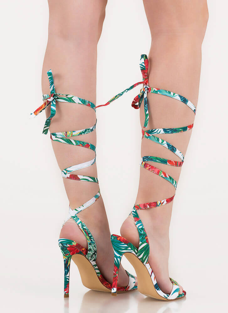 Tropical Oasis Floral Lace-Up Heels GREEN