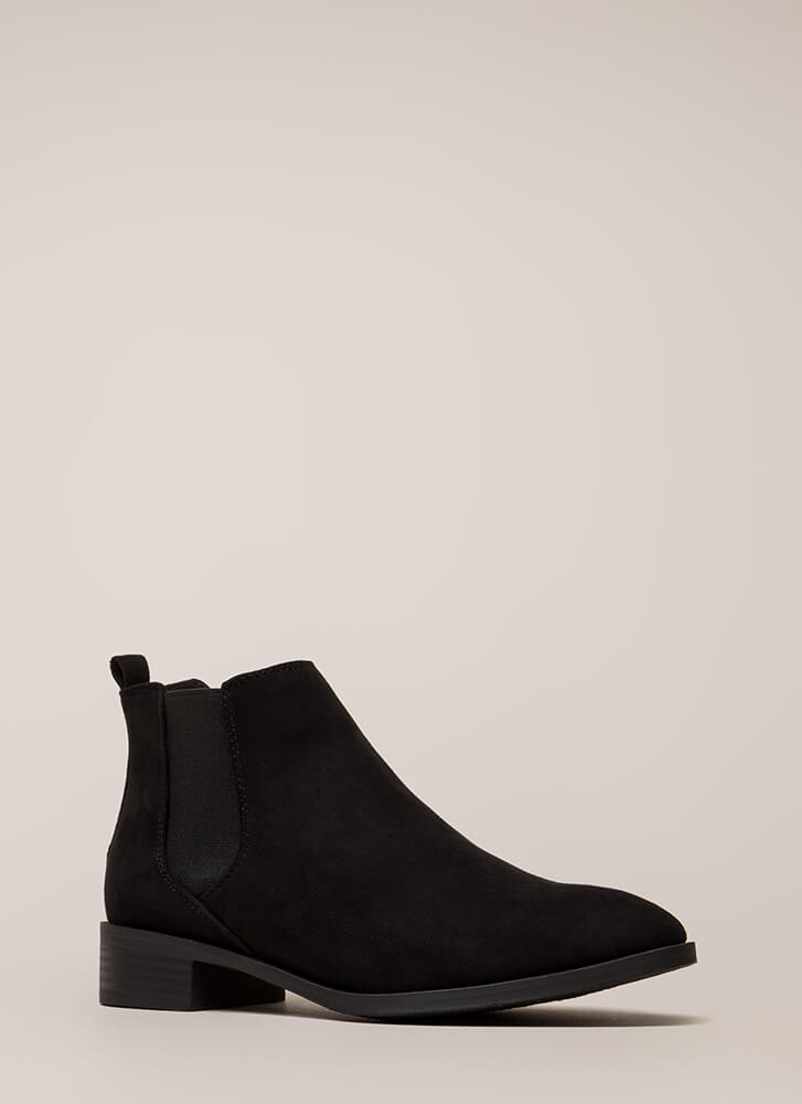 Chelsea Come Lately Faux Suede Booties BLACK