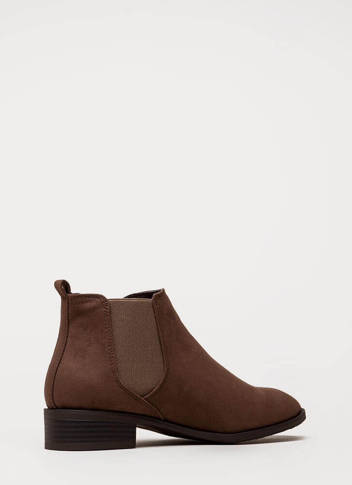 Chelsea Come Lately Faux Suede Booties BROWN