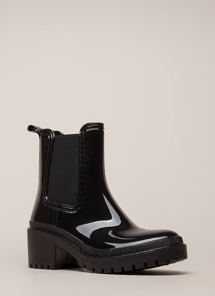 Ready For This Jelly Block Heel Booties BLACK