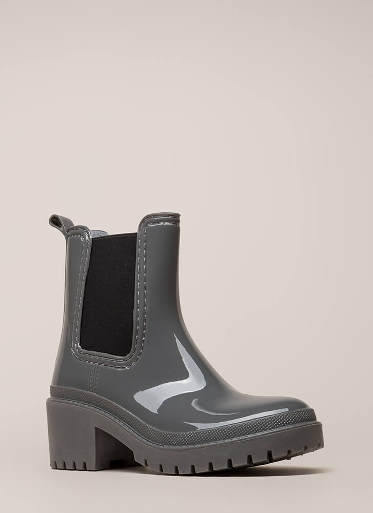 Ready For This Jelly Block Heel Booties GREY